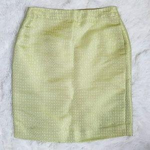 J. Crew Metallic Silk Bkend Pencil Skirt